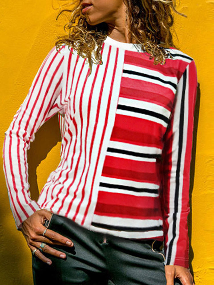 Casual Women Striped Patchwork Crew Neck Long Sleeve Blouse