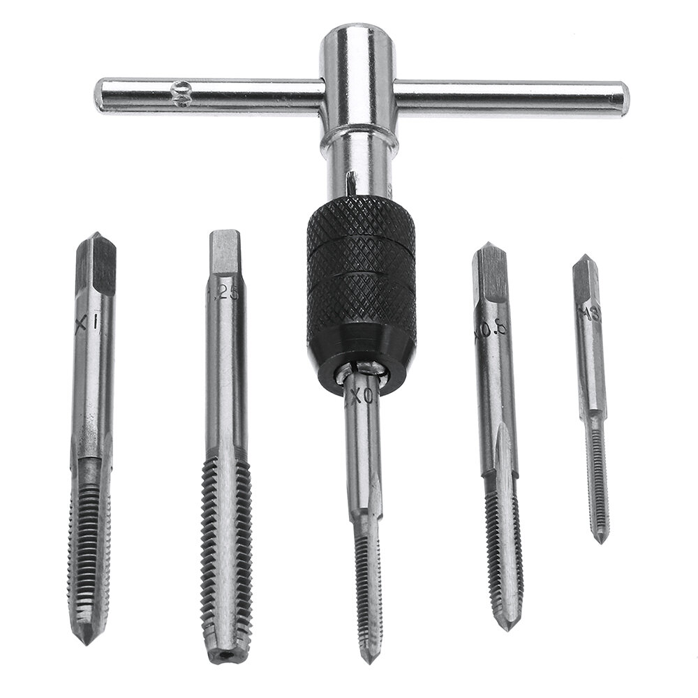 Vaak 6pcs m3-m8 tap drill set t handle ratchet tap wrench machinist PP76