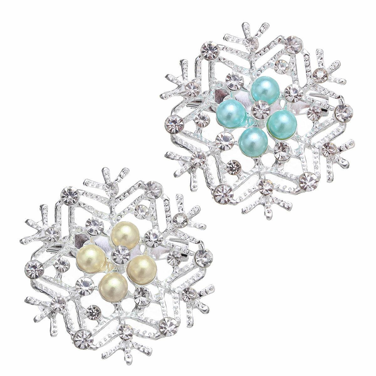 Giáng sinh Món quà đơn giản Ngọc trai rhinestone nhiều màu Bông tuyết Trâm