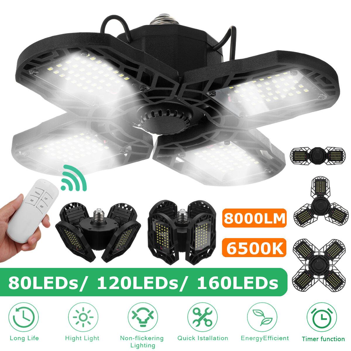 AC85-265V LED Garage Light Bulb E27 E26 Ceiling Fixture Shop Workshop Deformable Lamp Timing Kit