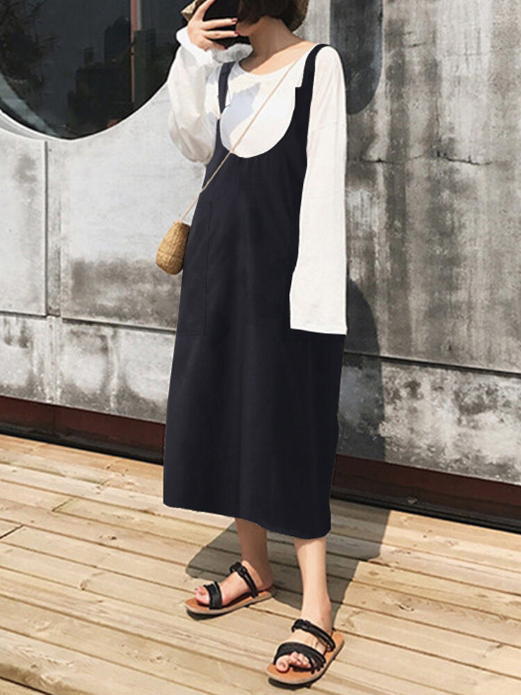 Women Sleeveless Strap Comfy Pure Color Loose Cotton Mid calf Dresses - 5
