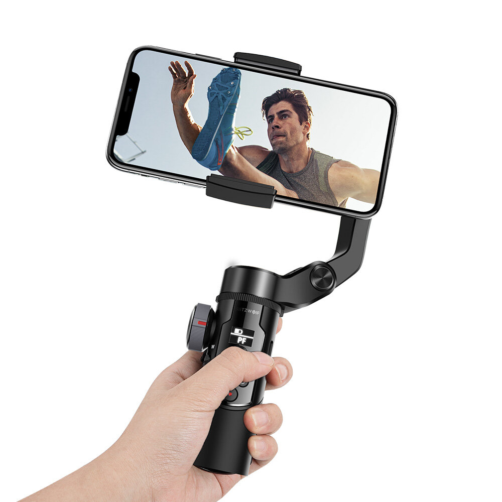 BlitzWolf BW-BS14 Pro 3 Axis Gimbal Stabilizer with Dual Zoom Movable Time-lapse Foldable Selfie Sticks Tripod for Action Camera Phone - Black