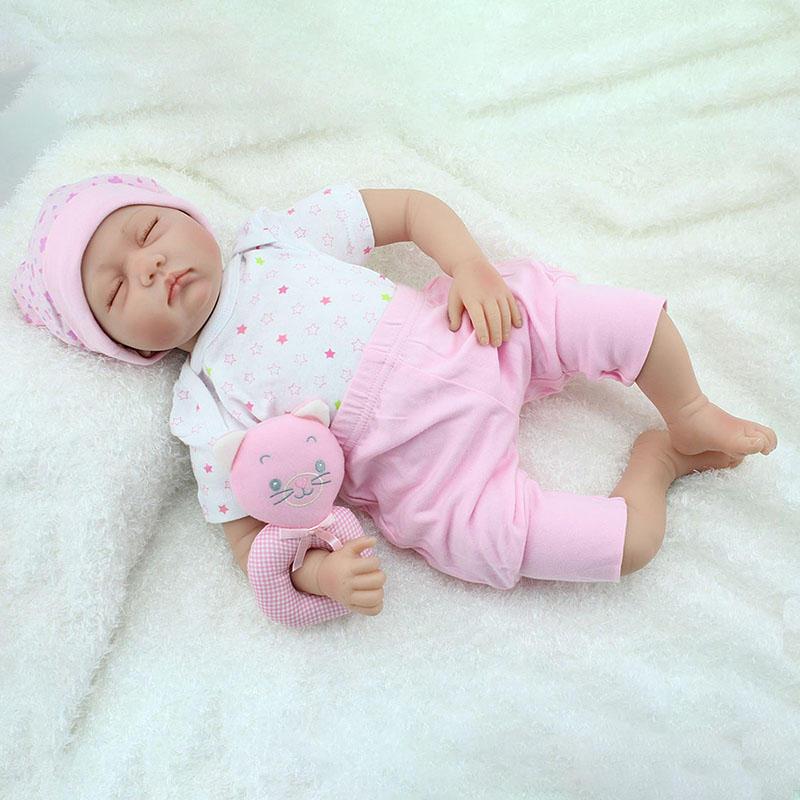 NPK 22inch Reborn Baby Doll Silicone Handmade Lifelike Baby Play House Toy