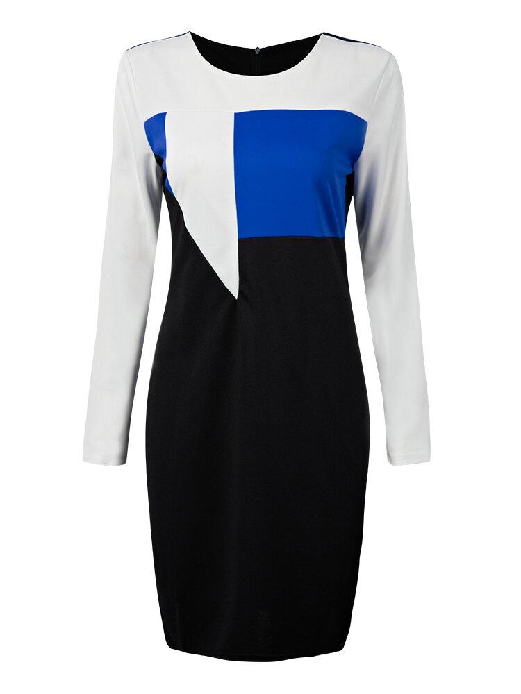 Elegant Work Color Contrast Patchwork Bodycon Pencil Dress For Women