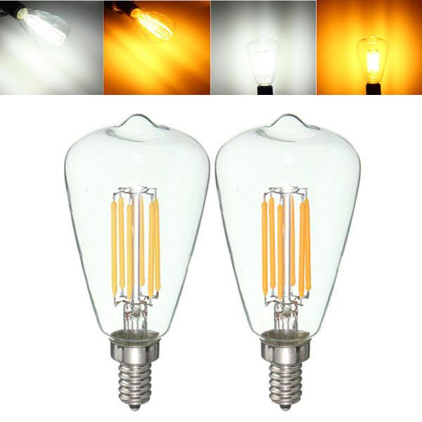 E12 6W COB Retro Edison Vintage Pure White Warm White Filament Light Lamp Bulb AC110V