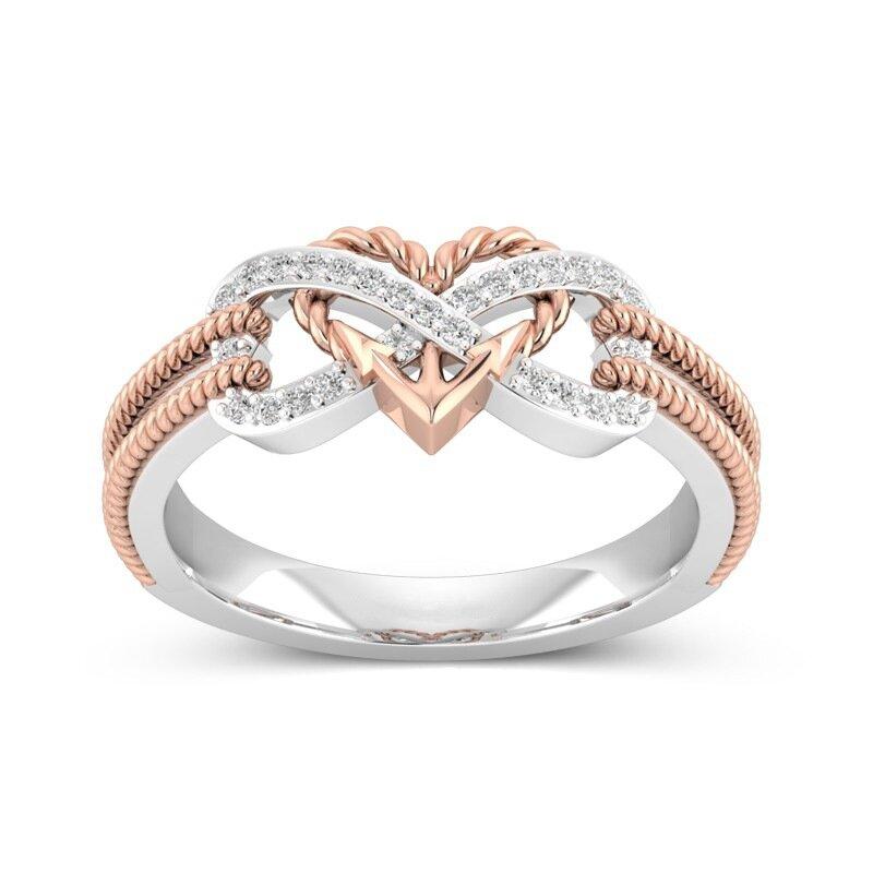 77d4b606cc9 특별 지르콘 상감 중공 백금 반지 Infinity 매듭 하트 여성용 크로스 핑거 링