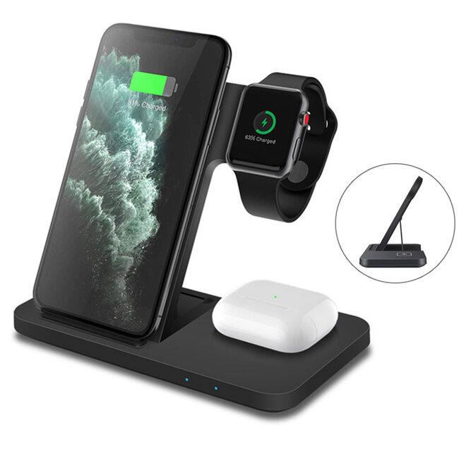 FDGAO 15W 3 in 1 Qi Wireless Charger for iPhone 12 11 Pro XS XR X 8 Fast Charging Dock Station For Apple Watch 6 5 4 3 2