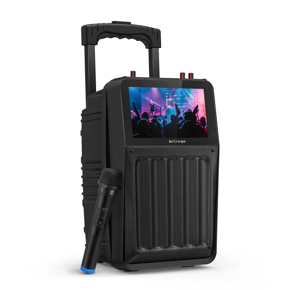 BlitzWolf® BW_DM1 30W TFT Screen Wireless Party Karaoke Speaker with TFT Screen, HiFi Sound, Wireless Microphone, Multiple Ports, 3000mAh Battery Capacity