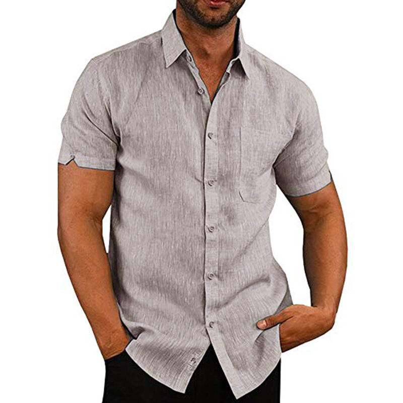 INCERUN Man Causal Summer Collar Shirts Ficka Kortärmad Toppar