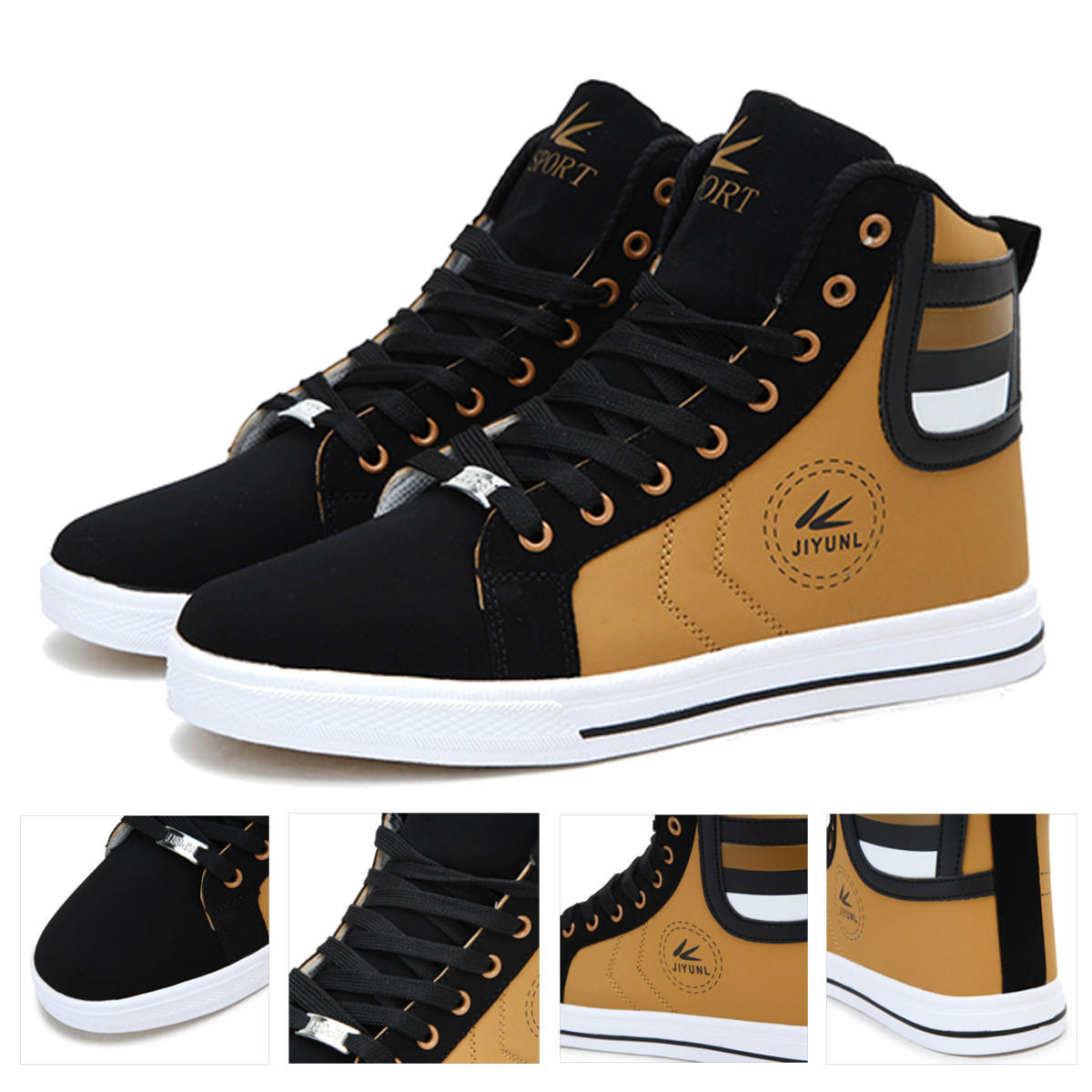 28f3b0df1b02e Men Round Toe High Top Sneakers Casual Leisure Lace Up Skateboard Shoes