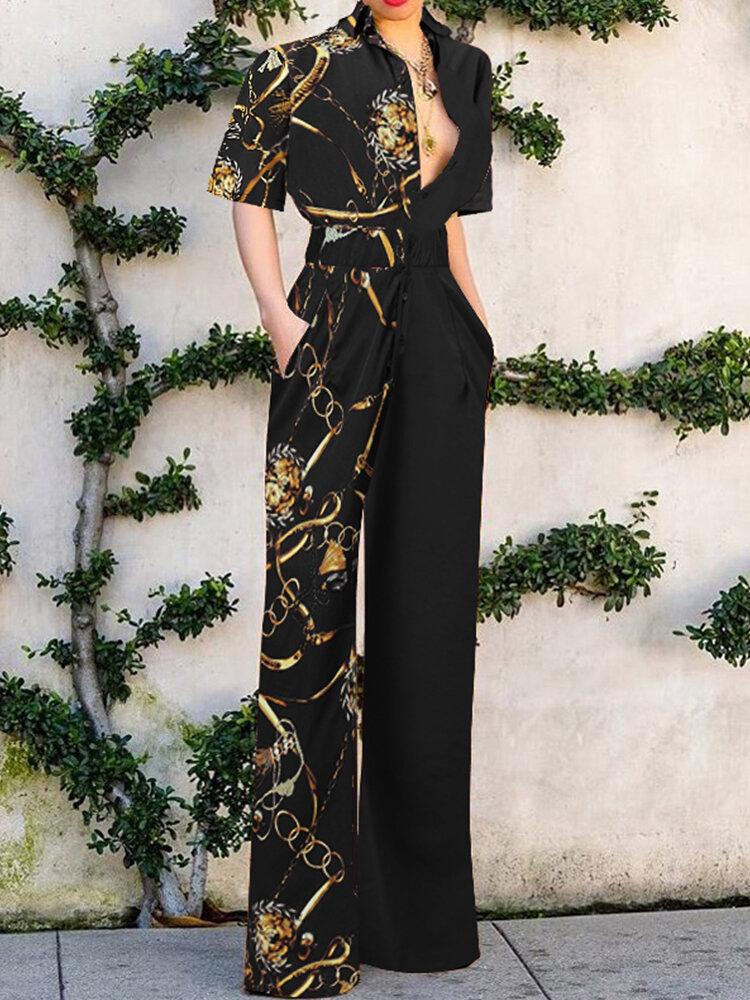 Women Patchwork Pleats Chain Special Printed Front Middle Button Floor Length Waist Stitching Pocket Jumpsuits