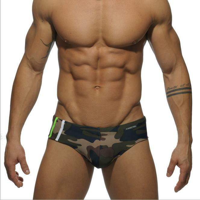 ce922af4a9 Addicted 9 Colors Sex Gay Mens Swimwear Men Elastic Swimsuit Man Quick Dry Swimming  Trunks - #04 M COD