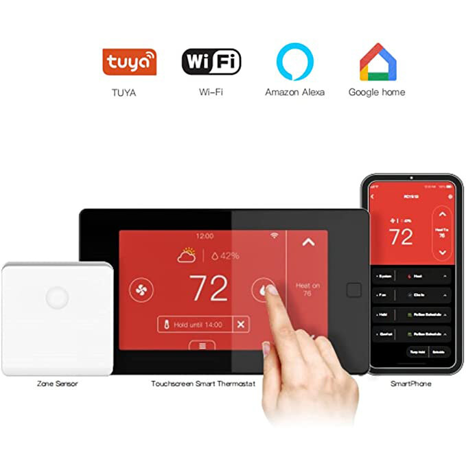 OWON PCT513-TY Tuya Smart WiFi Programmable Touchscreen Thermostat Smart Home7 Day/4 Periods Compatible with Alexa and