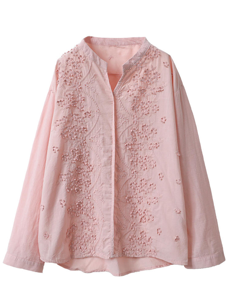 Women Floral Embroidery V-neck 3/4 Sleeve Blouse - 7