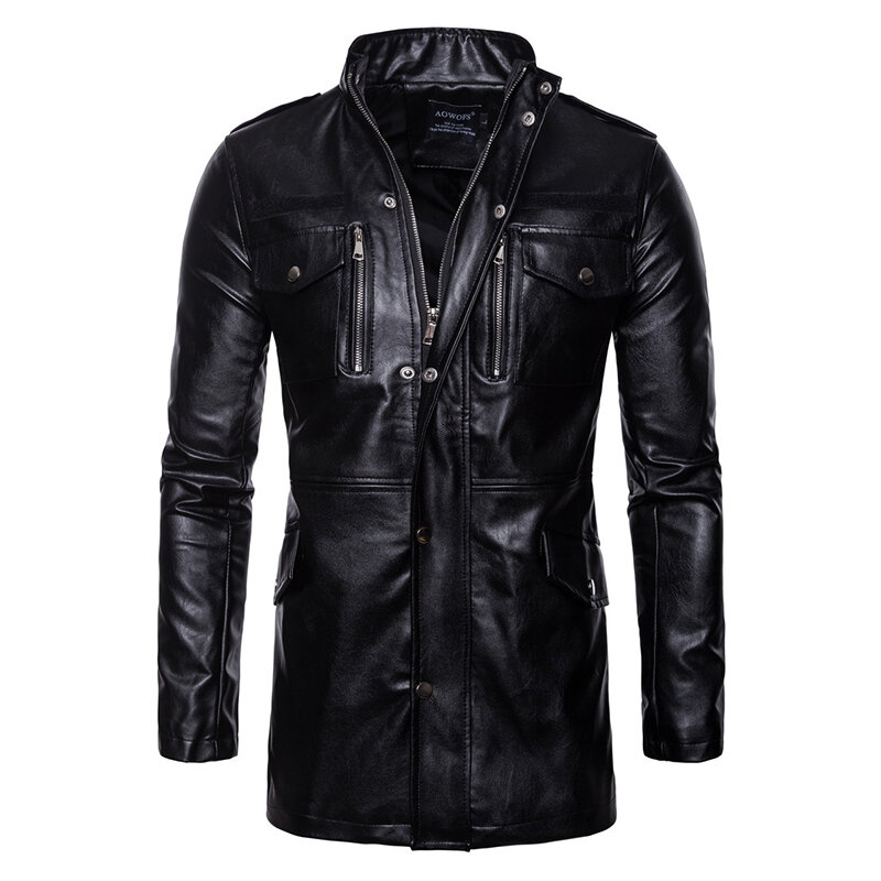 Mens PU Leather Fashion Black White Stitching Motorcycle Biker Jacket Baseball Collar Coat - 1