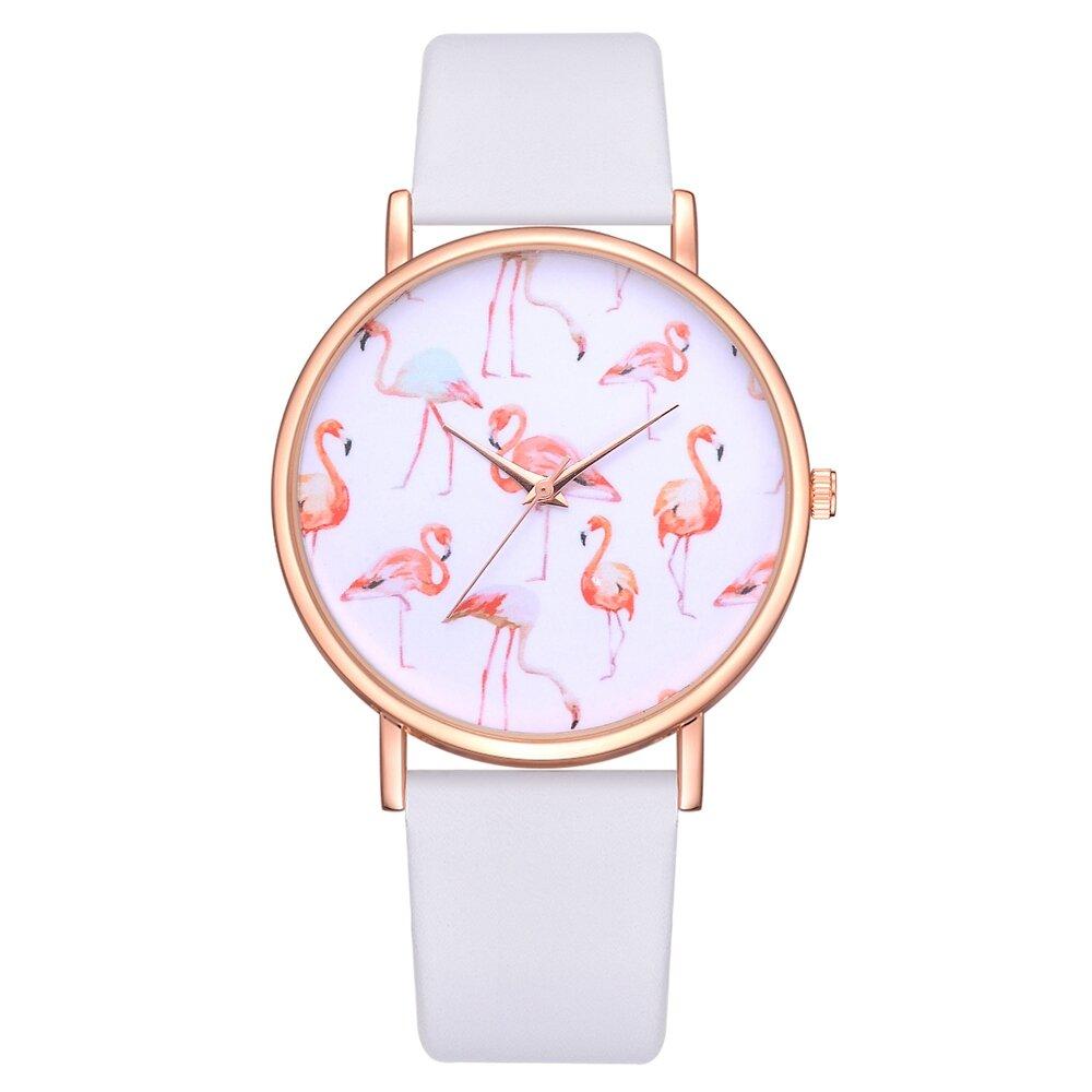 Rose Gold Case Flamingo Women Wrist Watch Leather Strap Casual Quartz Watches