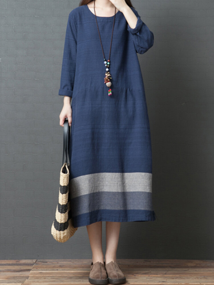 Vintage Women Loose Cotton Linen Striped Patchwork Long Sleeve Dress