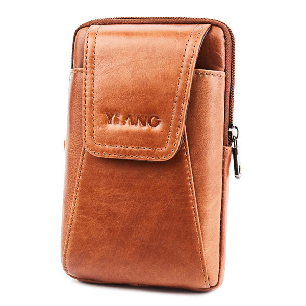 Men Genuine Leather Brown Bum Bag Waist Phone Bag Belt Pouch for 6in Phones