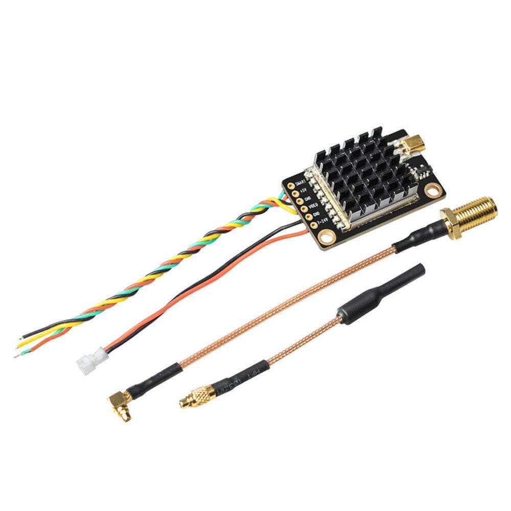 Eachine TX805S 5.8GHz 40CH 25/500/1000/1600mW AV FPV Transmitter VTX LED Display With Mic Heatsink Support OSD/Pitmode/Smart Audio for RC Drone Airplane Long Range