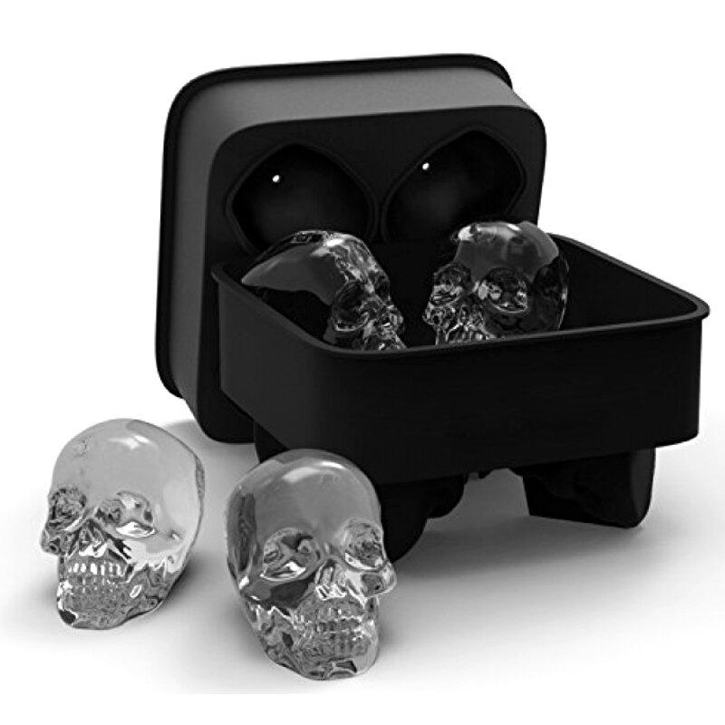 KCASA3DЧерепГибкая Силиконовая форма кубика льда Лоток для мелочи Легкий выпуск Реалистичный создатель череп кубика л фото