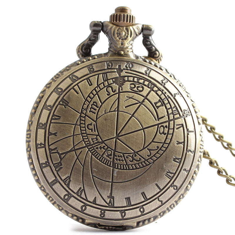 DEFFRUN Retro Bronze Compass Pattern Simple Dial Chain Quartz Pocket Watch