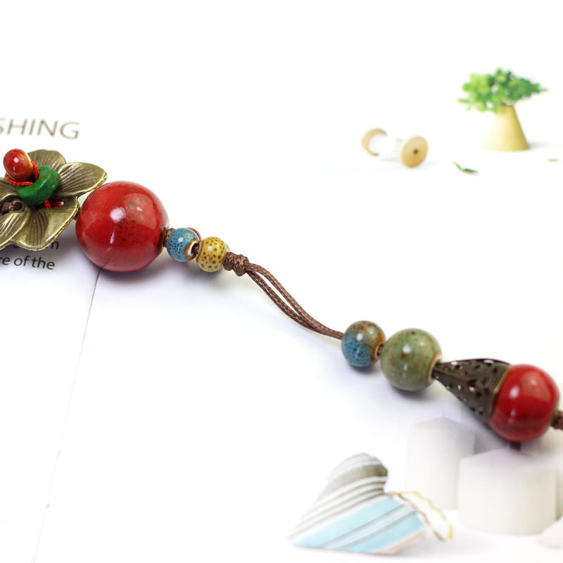 Ethnic Handmade Pendant Necklace Round Beaded Flower Charm Necklace Vintage Jewelry for Women - 3