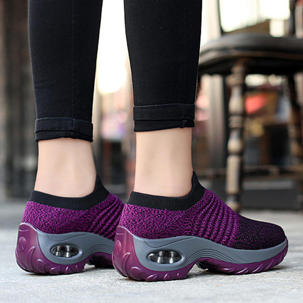 Women Lightweight Comfy Breathable Mesh Slip On Flat Sneakers - 12