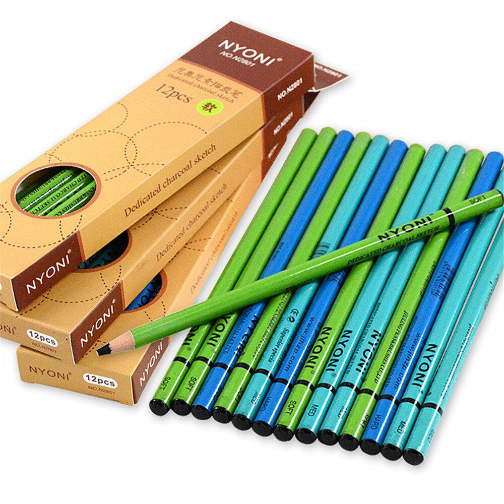NYONI N-2801 12 unidades / caixa Desenho Conjunto de Lápis de Carvão Soft Conjunto de Pintura Médio Duro Pintura Esboço
