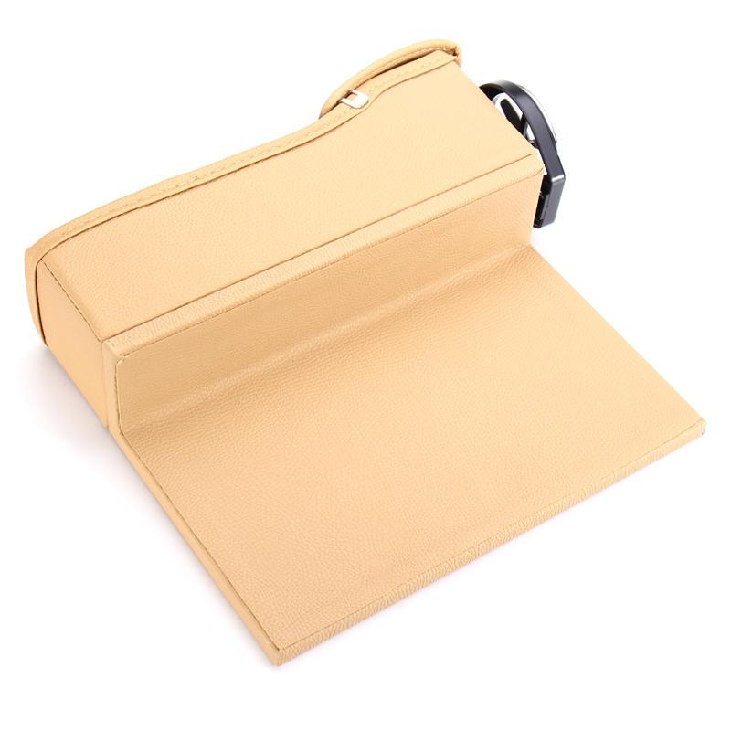 PU Leather Left Side Car Seat Crevice Gap Storage Box Pocket Organizer Phone Holder - 7