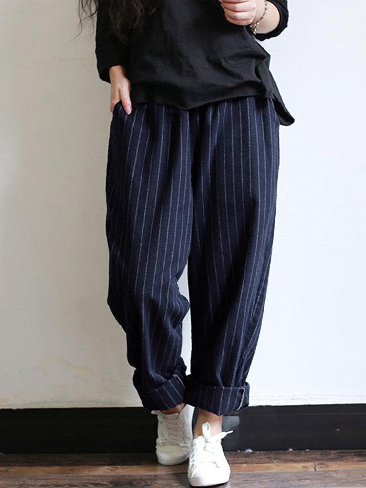 Women High Elastic Waist Striped Loose Cotton Harem Pants