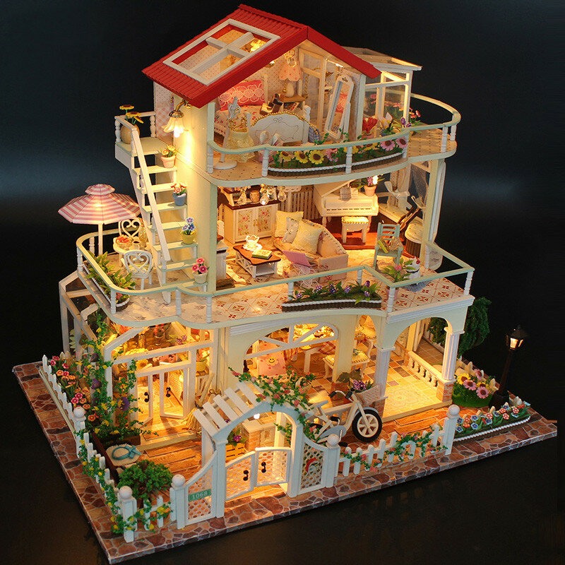 DIY Dollhouse Miniature Doll House Furniture Kit LED Kids Cat Birthday Xmas Gift House - 1