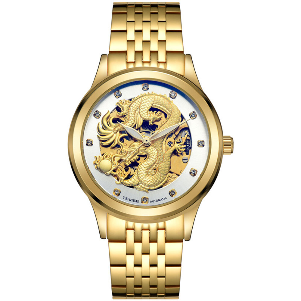 TEVISE 9006 Mechanical Watch Men Women Hollow Dragon Phoenix Pattern Watch Stainless Steel Watch