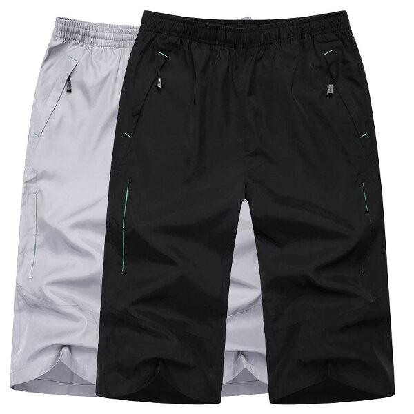 Mens Summer Sport Loose Elastic Waist Zipper Pocket Polyester Shorts