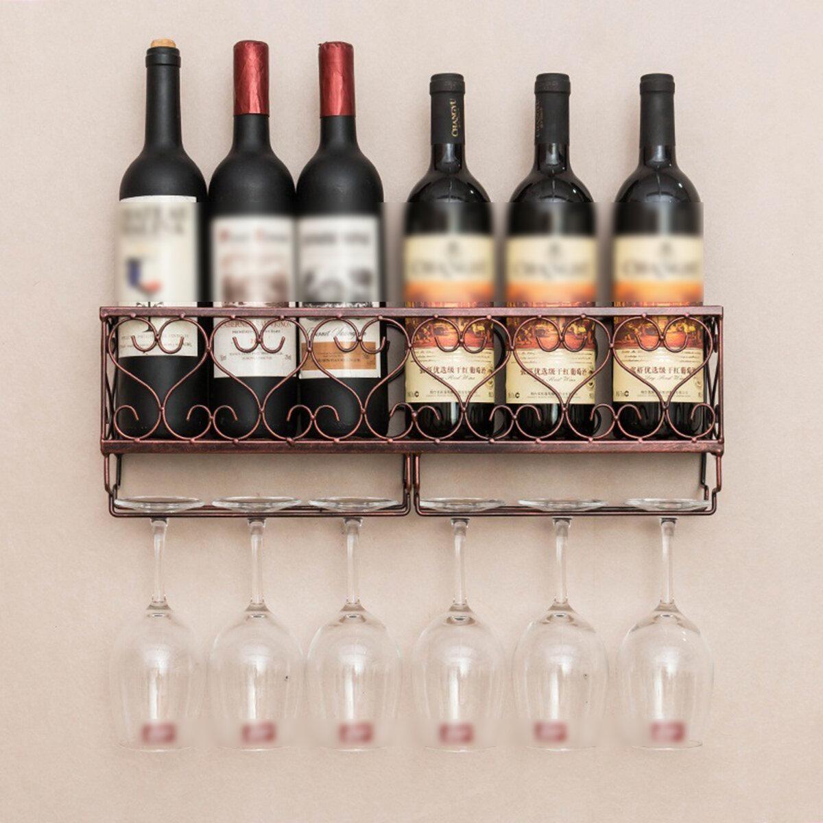 SHANGRONG D59838 Wall Mount Liquor Rack Metal Storage Shelf Glass Holder Hanging Home Kitchen Bar