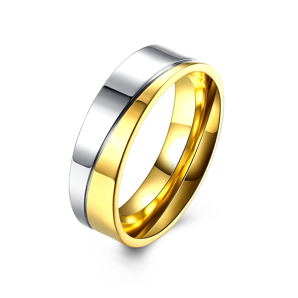 Gold Stripe Stainless Steel Zircon Couple Ring Love Ring Jewelry Gift For Wedding