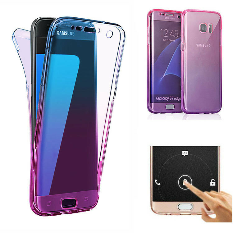 ff99ebfdd4 Gradient Color 360° Front And Back Full Protective TPU Cover Case for Samsung  Galaxy S7 Edge - Blue+Purple COD