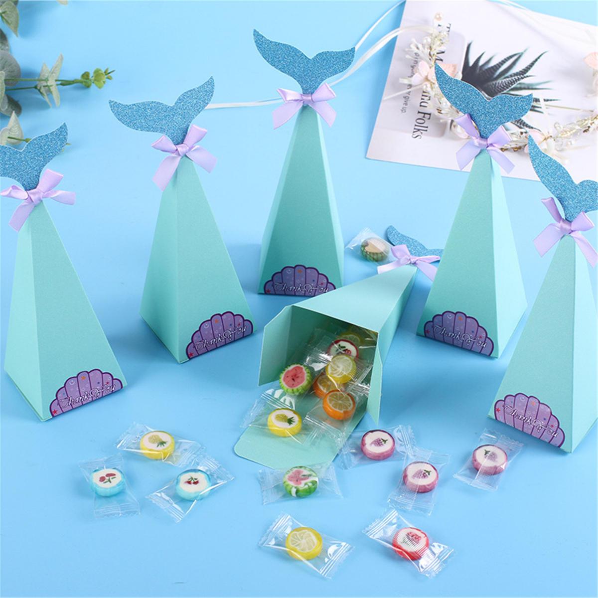 20 Teile / satz Kleine Meerjungfrau Geschenkboxen Papier Süße Süßigkeiten Container Kinder Geburtstag Hochzeit Dekorationen - 1