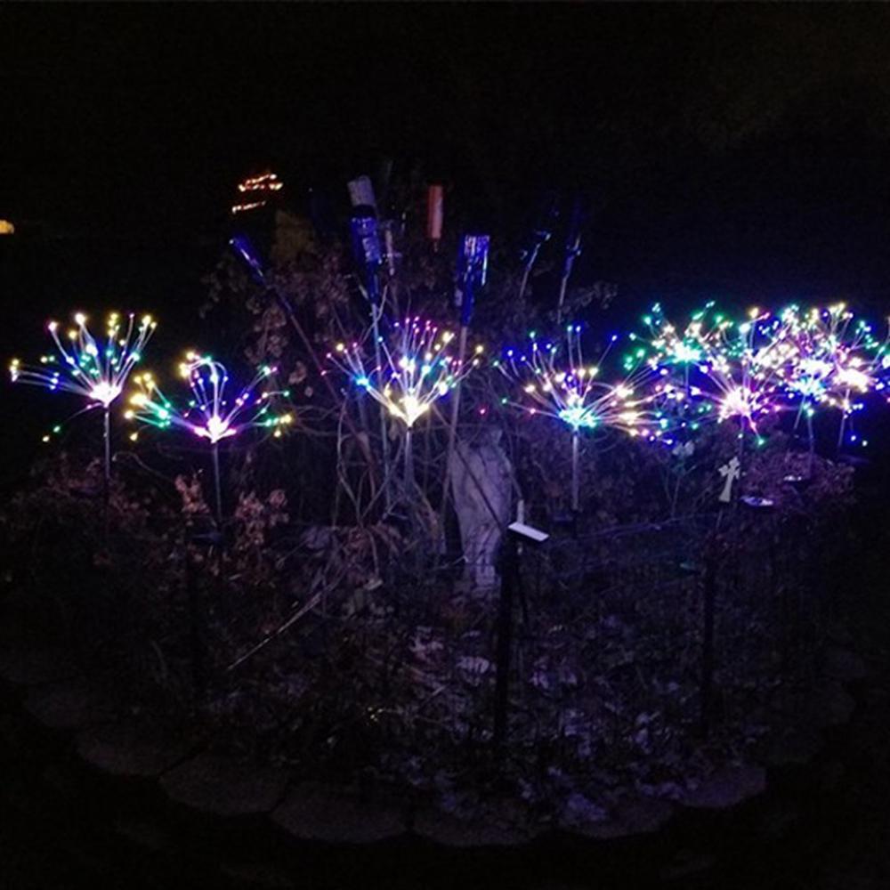 Solar Powered 8 Modes 90LED Colorful Sliver Wire Starburst Firework String Light for Christmas Garden Home