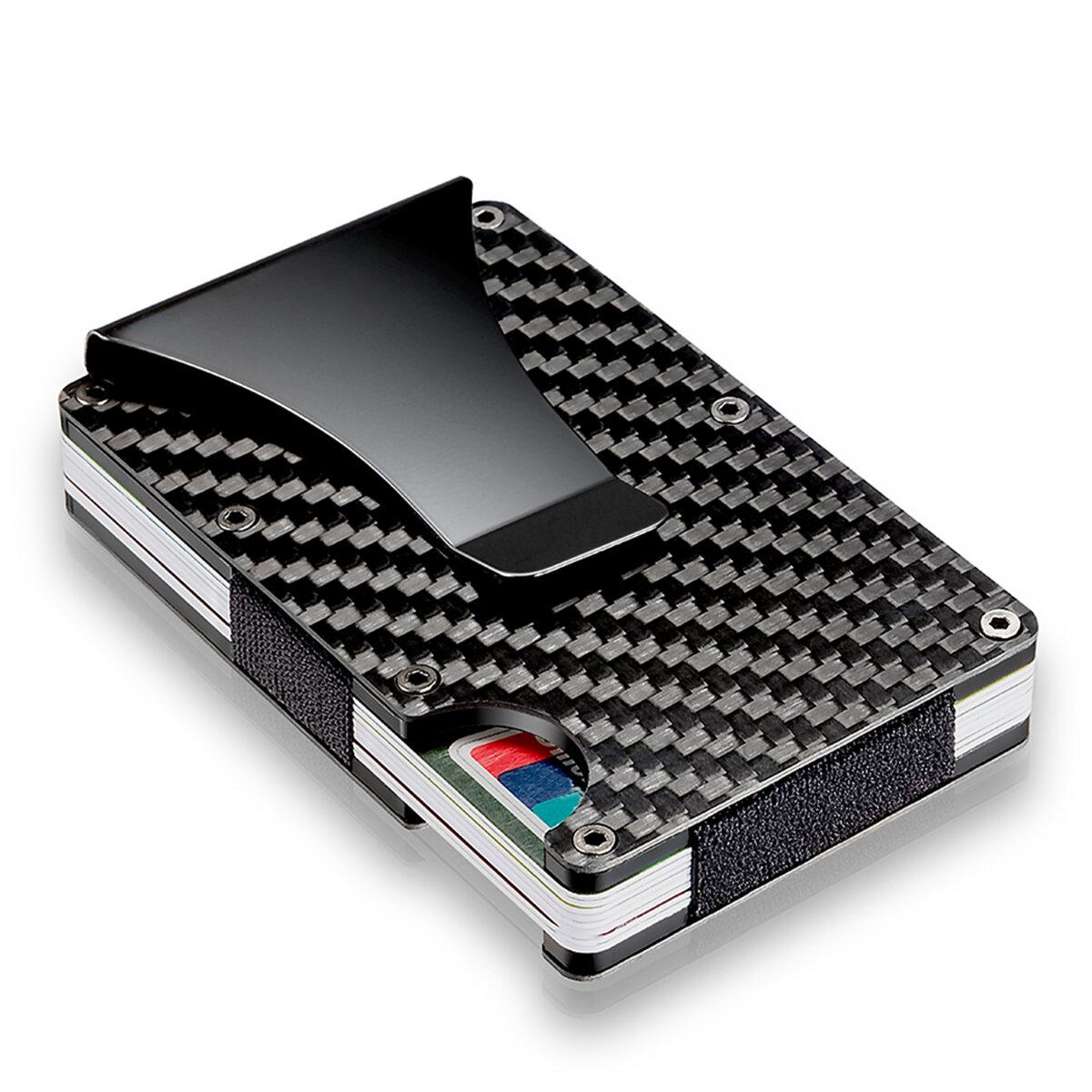 2019 discount sale original buy Slim Carbon Fiber Credit Card Holder RFID Blocking Metal Wallet Money Clip  Case
