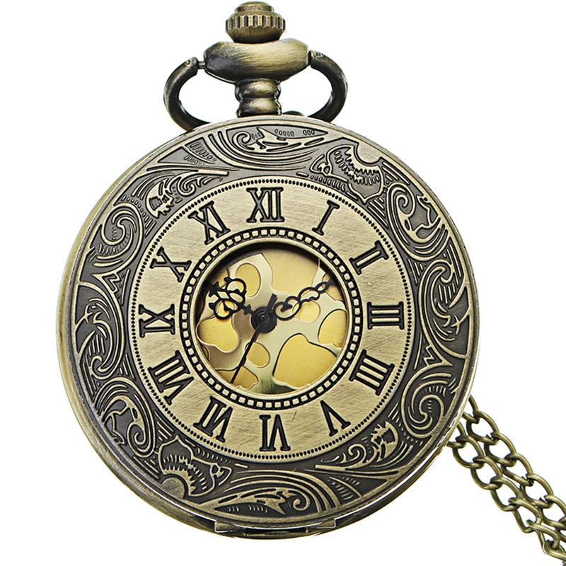 DEFFRUN Retro Steampunk Style Pocket Watch Angka Romawi Chain Watch