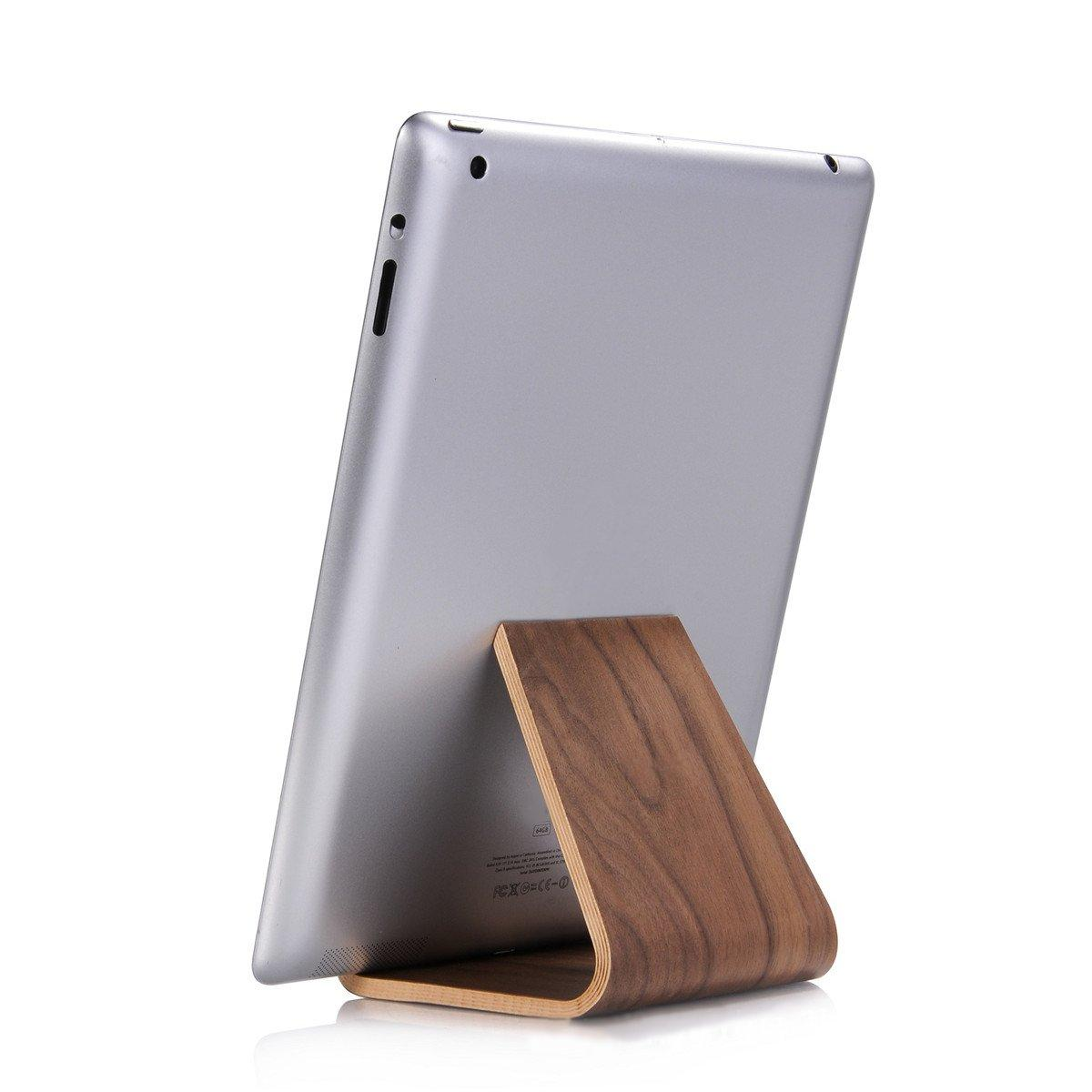Natural Wooden Universal Solid Mount Walnut Ipad//Tablet Display Stand