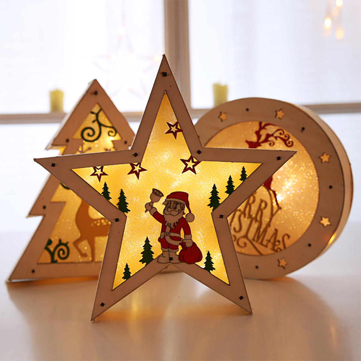 LED Light Christmas Decorations Houten bureau ornamenten - 1