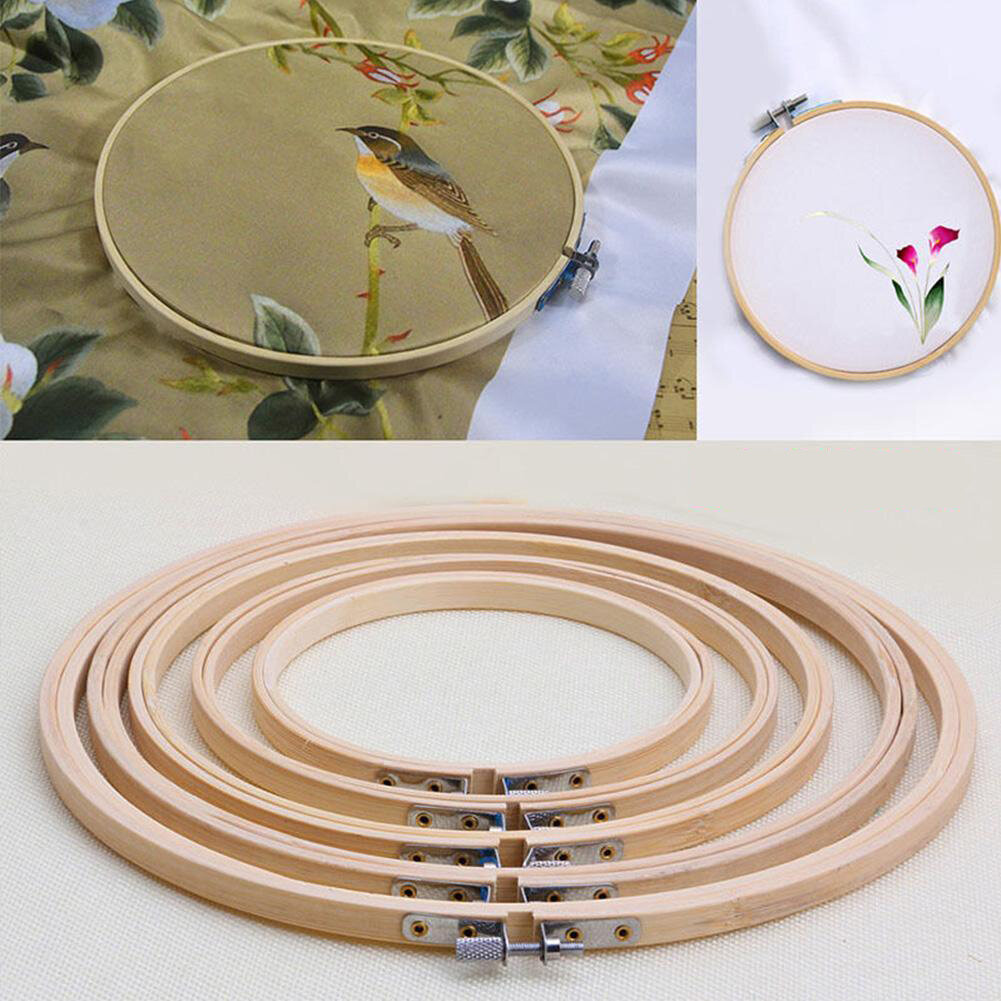 Bamboo Round Embroidery Frame Cross Stitch Hoop Ring Needle Craft Sewing Tool