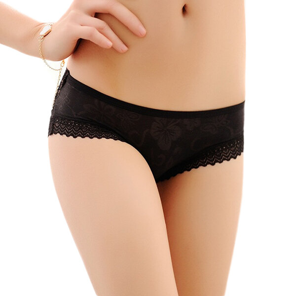 Women Sexy Lace Hollow Out Low Rise Breathable Briefs Panties