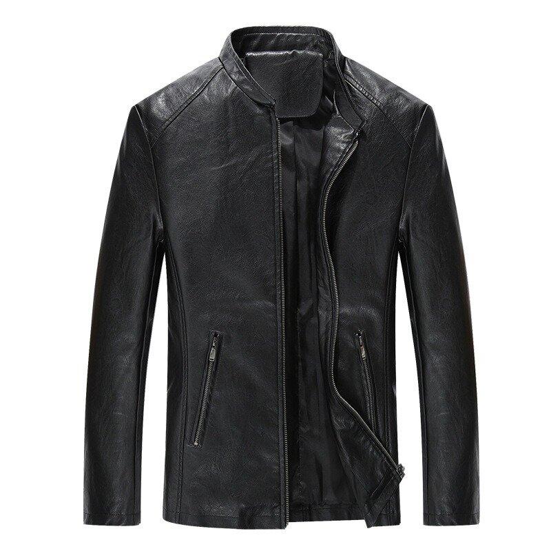 Mens Fashion PU Hooded Zipper Jacket Warm Thick Leather Coat - 4