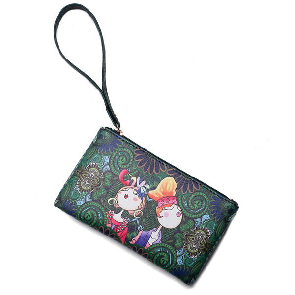 Women Bohemian Print Portable Long Wallet Green Forest Series Clutches Bag
