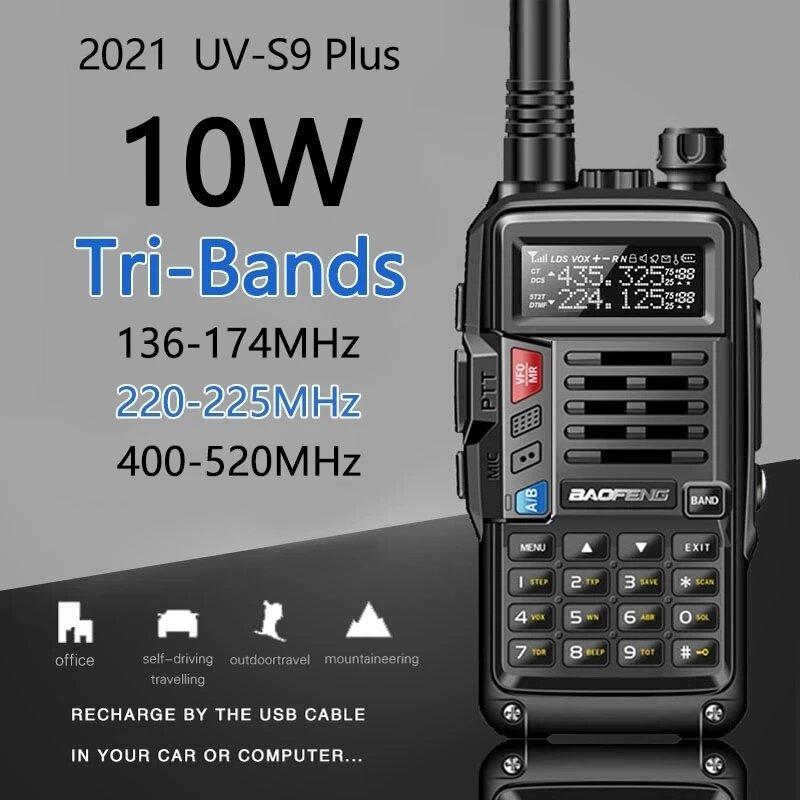 Banggood coupon: 2021 BaoFeng UV-S9 Plus Walkie Talkie Tri-Band 10W Potente 10W CB Radio Transceptor VHF UHF 136-174Mhz / 220-260Mhz / 40