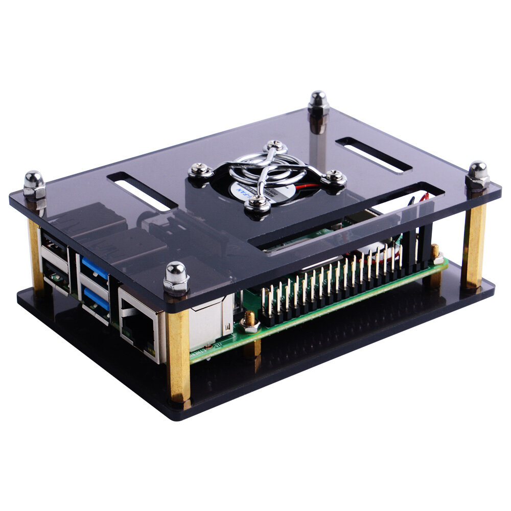 52Pi Dark Brown / Clear Acrylic Case with Cooling Fan for Raspberry Pi 4B / 3B+ / 3B