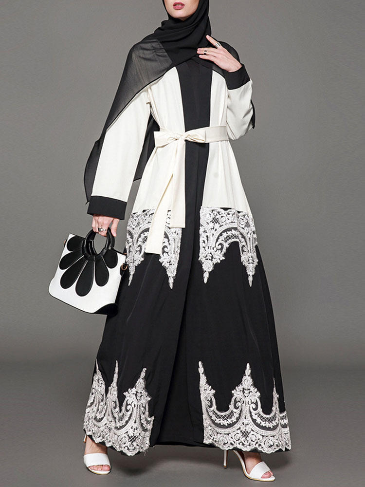 S-5XL Women Lace Hollow Loose Robe Dress with Belt