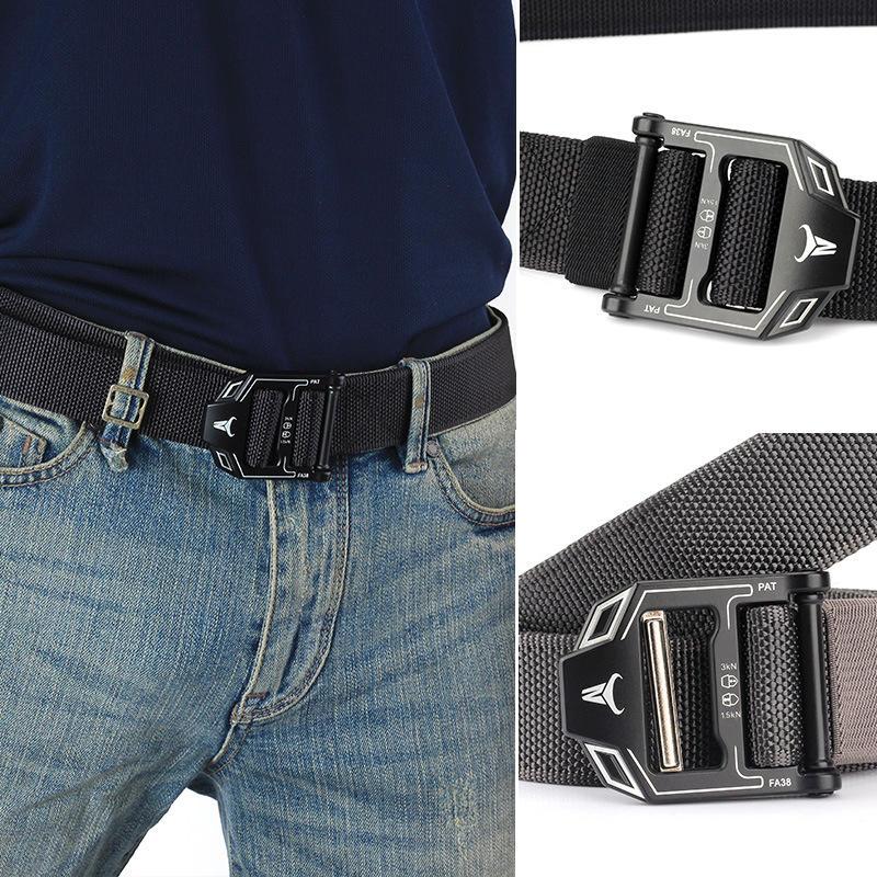 125CM Men's Nylon Firm Woven Belt Camping Tactical Training Belts Army Waistband Outdoor Equipment - 1